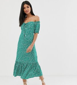 Read more about Asos design tall off shoulder midi dress with pephem in ditsy floral print-green