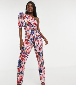 Read more about Asos design tall one shoulder puff sleeve jumpsuit in floral-multi