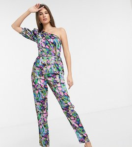 Read more about Asos design tall one shoulder puff sleeve jumpsuit in pink smudged floral print-multi