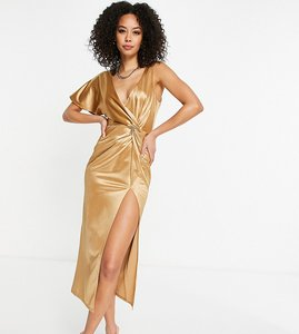 Read more about Asos design tall one sleeve twist high split midi dress in gold