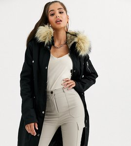 Read more about Asos design tall parka with detachable faux fur liner-black
