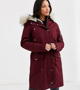 Read more about Asos design tall parka with detachable faux fur liner in oxblood-purple