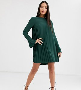 Read more about Asos design tall pleated trapeze mini dress with long sleeves in forest green