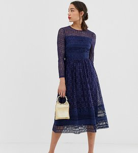 Read more about Asos design tall premium lace midi skater dress in navy