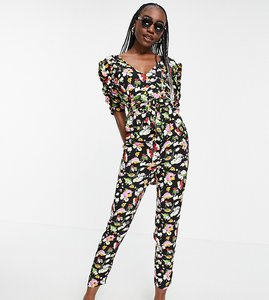 Read more about Asos design tall ruched sleeve peg leg jumpsuit in floral print-multi