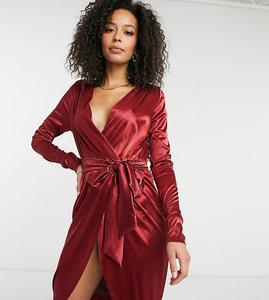 Read more about Asos design tall satin wrap midi dress with belt detail in oxblood-multi