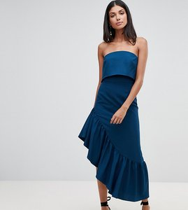 Read more about Asos design tall soft bandeau midi dress with peplum-blue