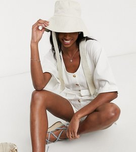 Read more about Asos design tall soft denim button through playsuit in ecru-white