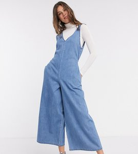 Read more about Asos design tall soft denim slouchy v neck jumpsuit in blue