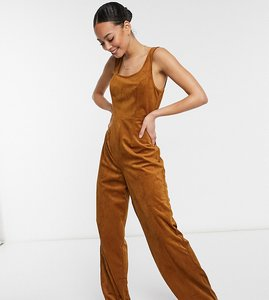 Read more about Asos design tall square neck cord tie waist jumpsuit in tan-red