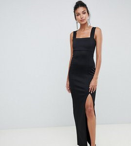 Read more about Asos design tall square neck maxi dress with thigh split-black