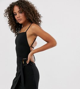 Read more about Asos design tall strappy back wrap mini dress with tortoise shell buckle-black