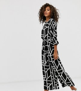 Read more about Asos design tall tie waist jumpsuit in mono geo print-multi