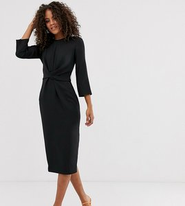 Read more about Asos design tall tie wrap around midi dress in black