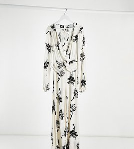 Read more about Asos design tall twist front wide leg jumpsuit in cream floral print-multi