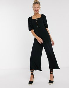 Read more about Asos design tea jumpsuit with button front and puff sleeve in rib in black