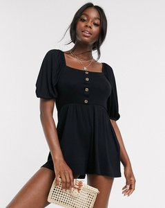 Read more about Asos design tea playsuit with button front and puff sleeve in rib in black