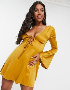 Read more about Asos design tie front fit and flare skater mini dress in gold