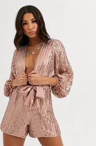 Read more about Asos design tie front playsuit in all over sequin-pink