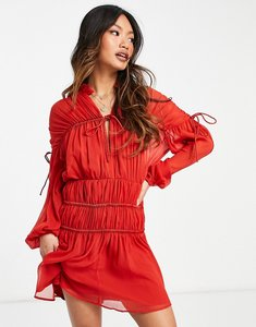 Read more about Asos design tie neck mini dress with blouson sleeve in red-black