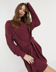 Read more about Asos design tie waist brushed rib mini dress in oxblood-red