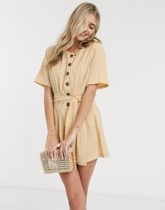 Read more about Asos design tie waist button front playsuit in sand-beige