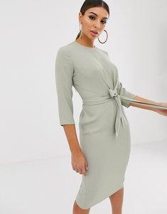 Read more about Asos design tie wrap around midi dress in sage green