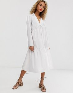 Read more about Asos design tiered collared cotton smock midi dress with long sleeves-white
