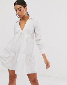Read more about Asos design tiered collared cotton smock mini dress with long sleeves-white