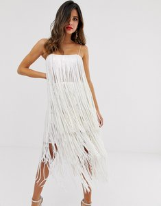 Read more about Asos design tiered midi dress in fringe sequin-white