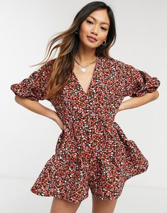 Read more about Asos design tiered smock playsuit in red floral-multi