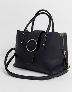 Read more about Asos design tote bag with ring detail-black
