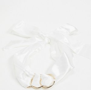 Read more about Asos design triple ring detail headscarf in white