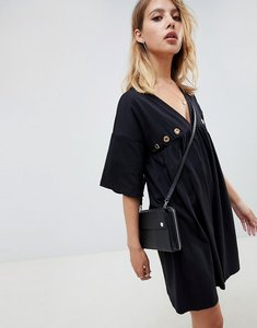 Read more about Asos design ultimate cotton smock dress with eyelets-black