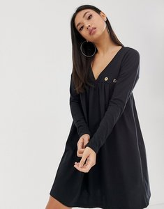 Read more about Asos design ultimate long sleeve cotton smock dress with eyelets-black