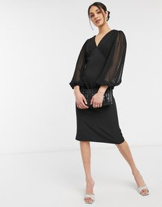 Read more about Asos design v neck midi pencil dress with dobby sleeves in black