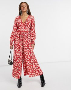 Read more about Asos design v neck tea jumpsuit with lace trim in red floral print