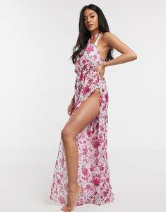 Read more about Asos design wide leg twist neck beach jumpsuit in graphic stripe floral print-multi