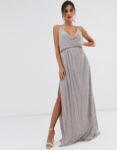 Read more about Asos design wrap bodice maxi dress in linear and floral embellishment-grey