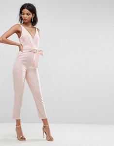 Read more about Asos design wrap front jumpsuit with peg leg and self belt-pink