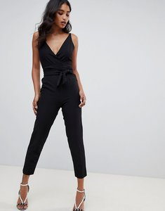 Read more about Asos design wrap front jumpsuit with peg leg and self belt in black