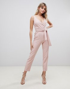 Read more about Asos design wrap front jumpsuit with peg leg and self belt in blush-pink