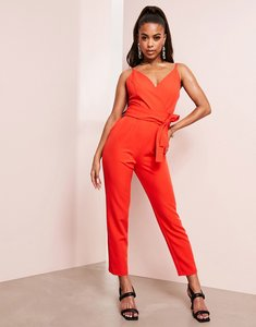Read more about Asos design wrap front jumpsuit with peg leg and self belt in tomato red