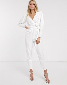 Read more about Asos design wrap front jumpsuit with shoulder pad detail-white