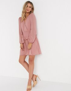 Read more about Asos design wrap front shirred waist mini skater dress in dusky pink