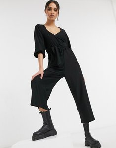 Read more about Asos design wrap front textured smock jumpsuit in black