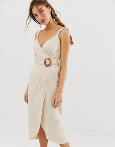 Read more about Asos design wrap maxi dress with buckle belt-neutral