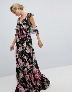 Read more about Asos design wrap maxi dress with ruffles in dark floral print-multi