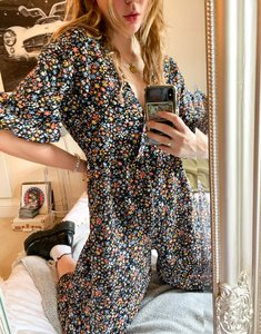 Read more about Asos design wrap textured smock jumpsuit in ditsy floral-multi