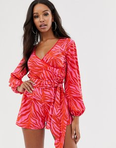 Read more about Asos design wrap tie front long sleeve playsuit in bright zebra animal print-multi